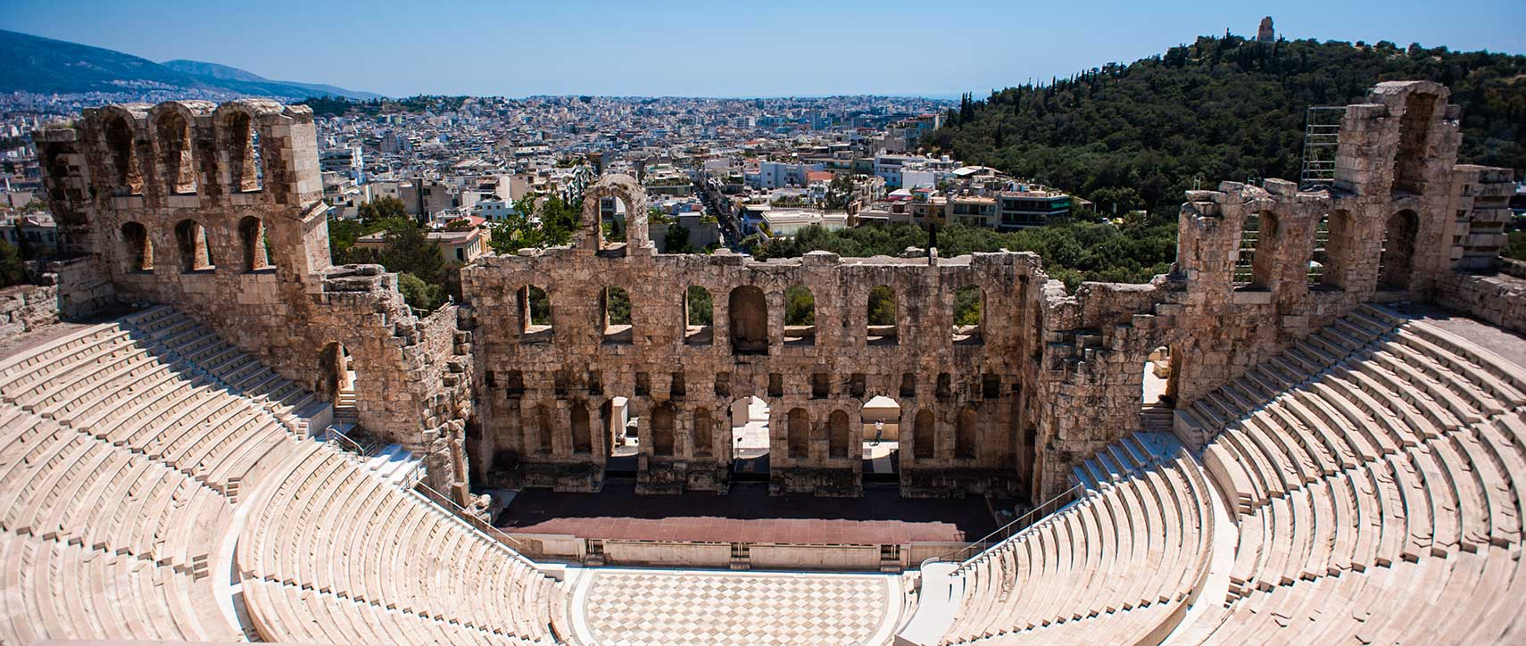 Athens cityscape from the Odeon of Herodes Atticus