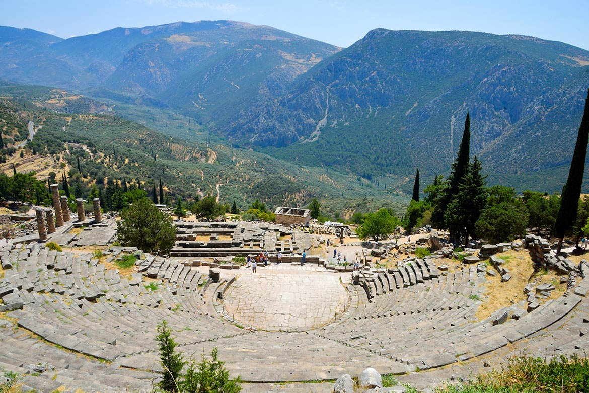 Delphi sanctuary of Apollo with the theatre and the remains of the Temple of Apollo