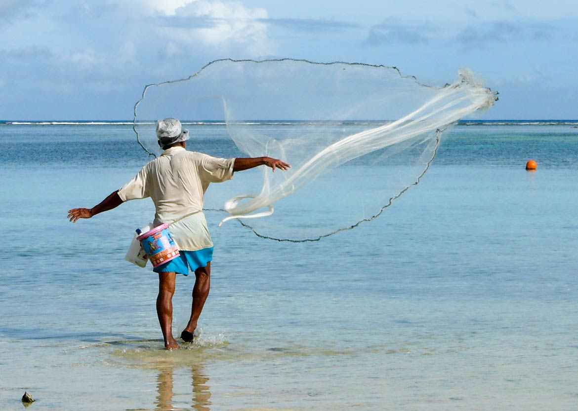 Fisherman on the shore in Guam