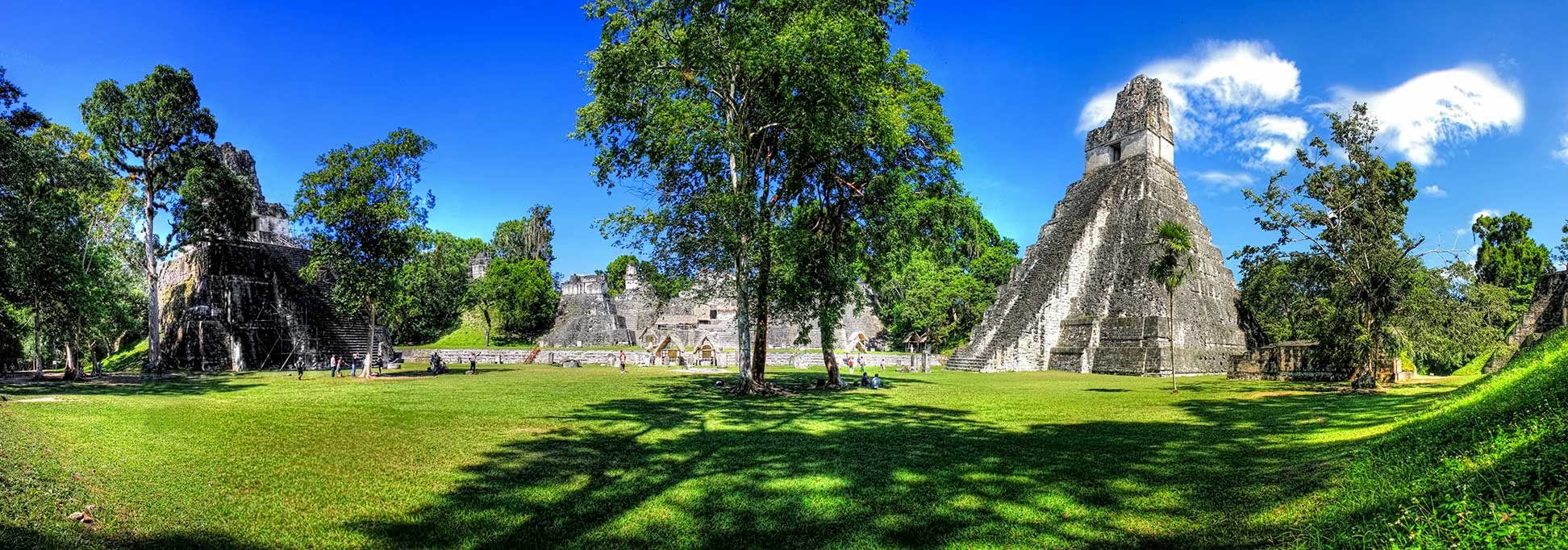 Great Plaza of the Tikal Temple in Guatemala.