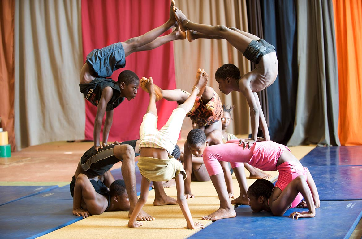 Young artists at the School for acrobats in Conakry