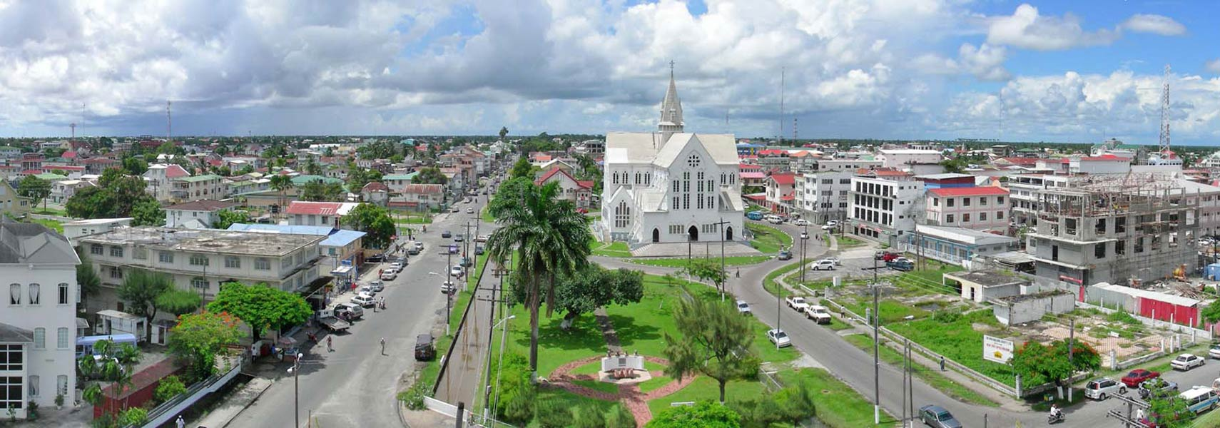 Panorama of Georgetown, Guyana with St. George's Cathedral