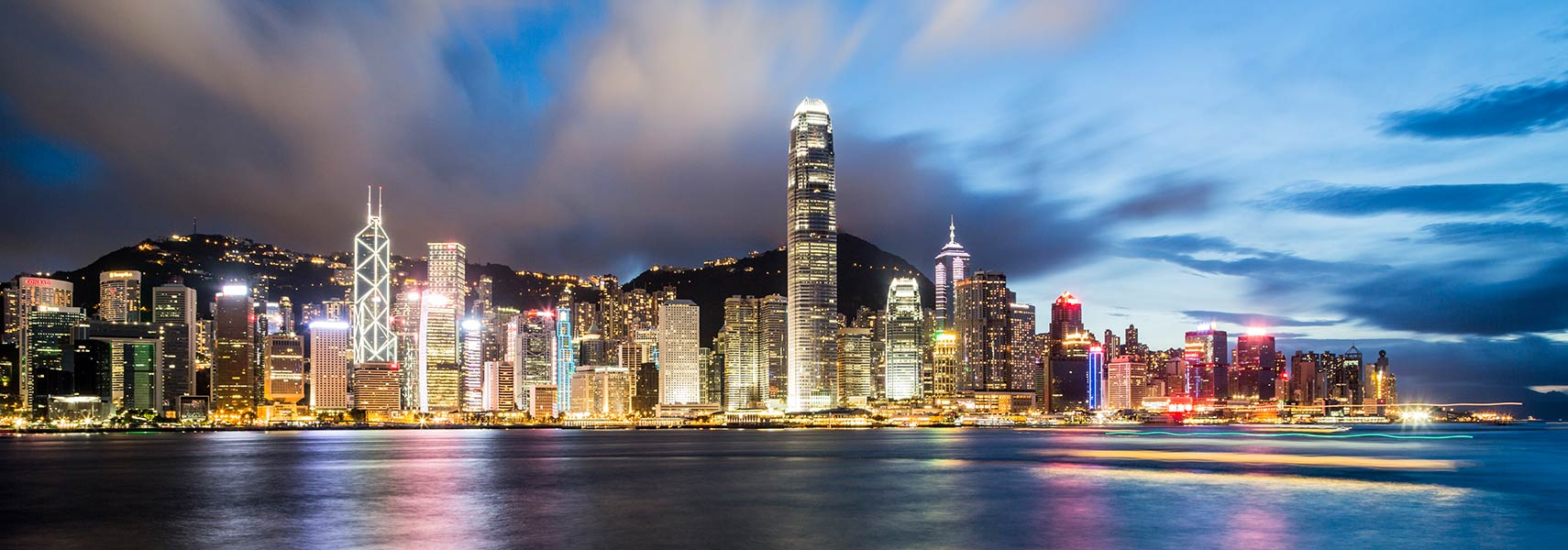 Hong Kong's Central and Western District skyline at dawn