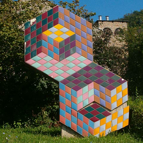 Vasarely sculpture in Pécs, Hungary