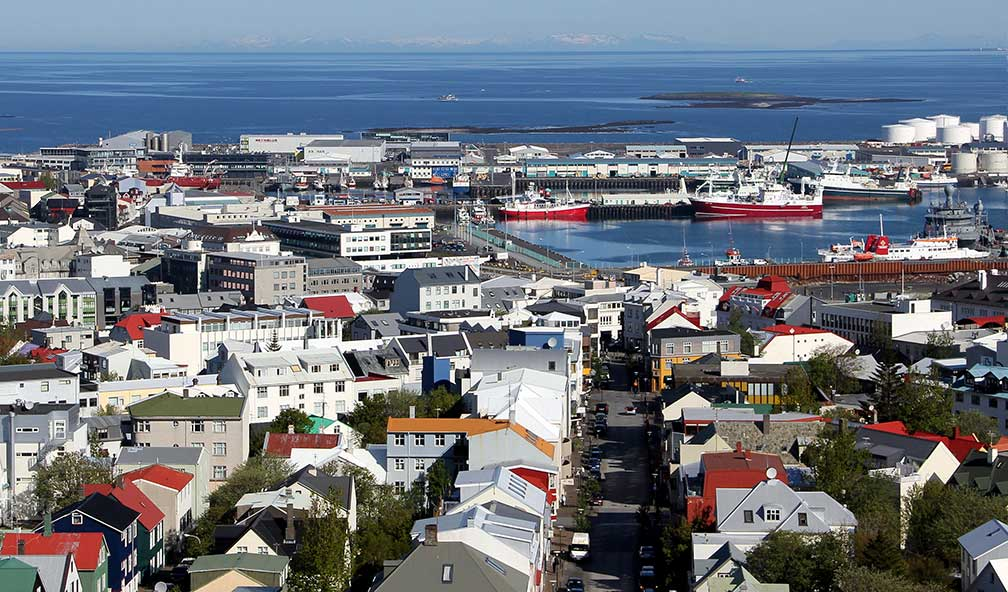 Central Reykjavík and harbour seen from Hallgrím's church
