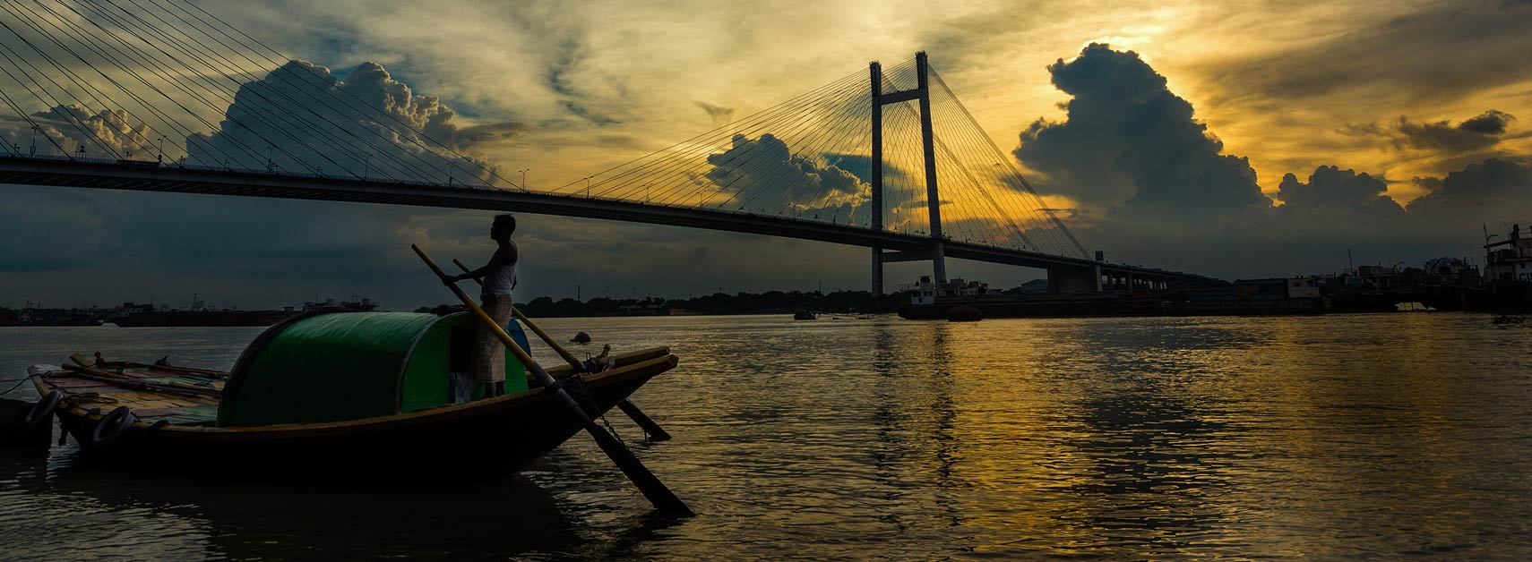 Hooghly River and Second Hooghly Bridge (Vidyasagar Setu) Kolkata