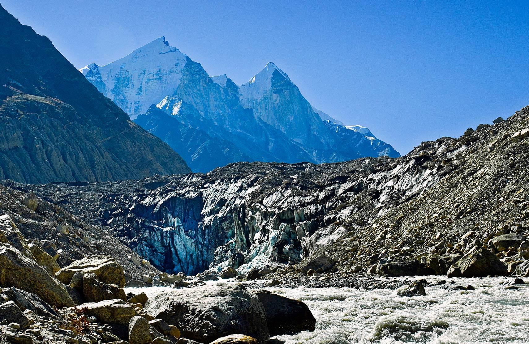 Gomukh, terminus of the Gangotri glacier, Uttarakhand, India