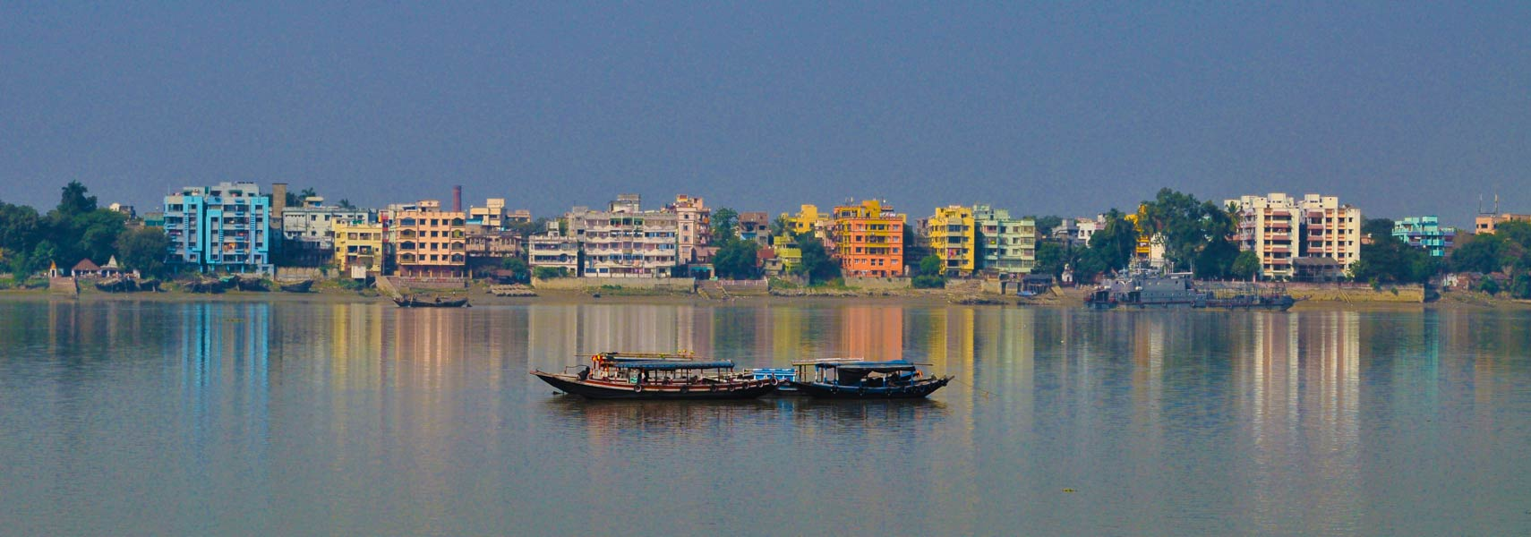 View of Kolkata from the banks of the River Ganga in West Bengal