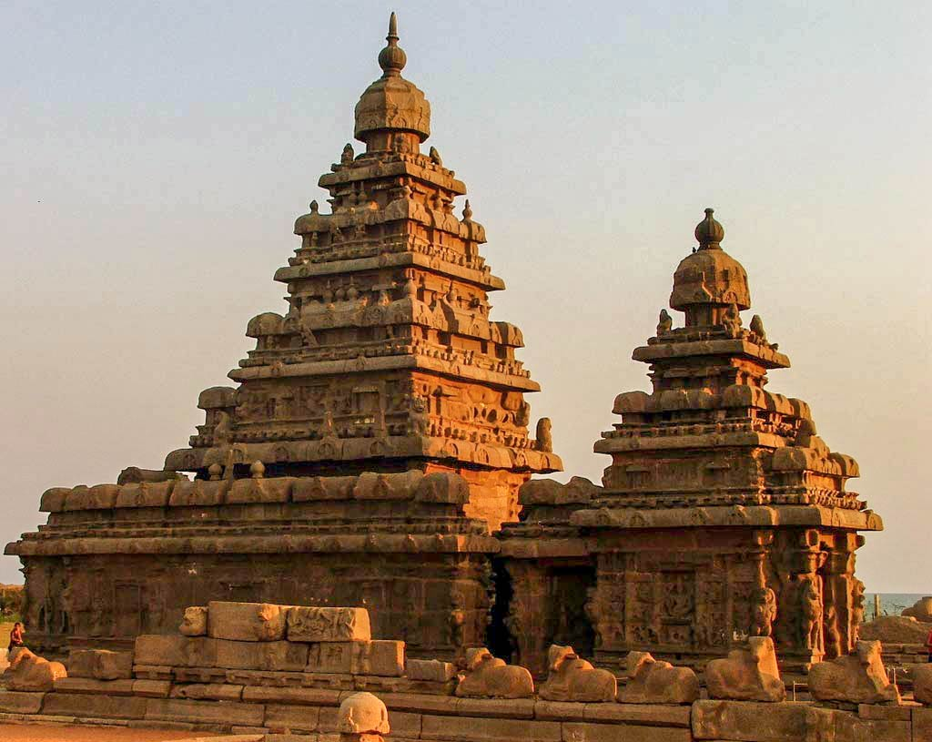 Shore Temple at the Bay of Bengal near Mamallapuram Tamil Nadu