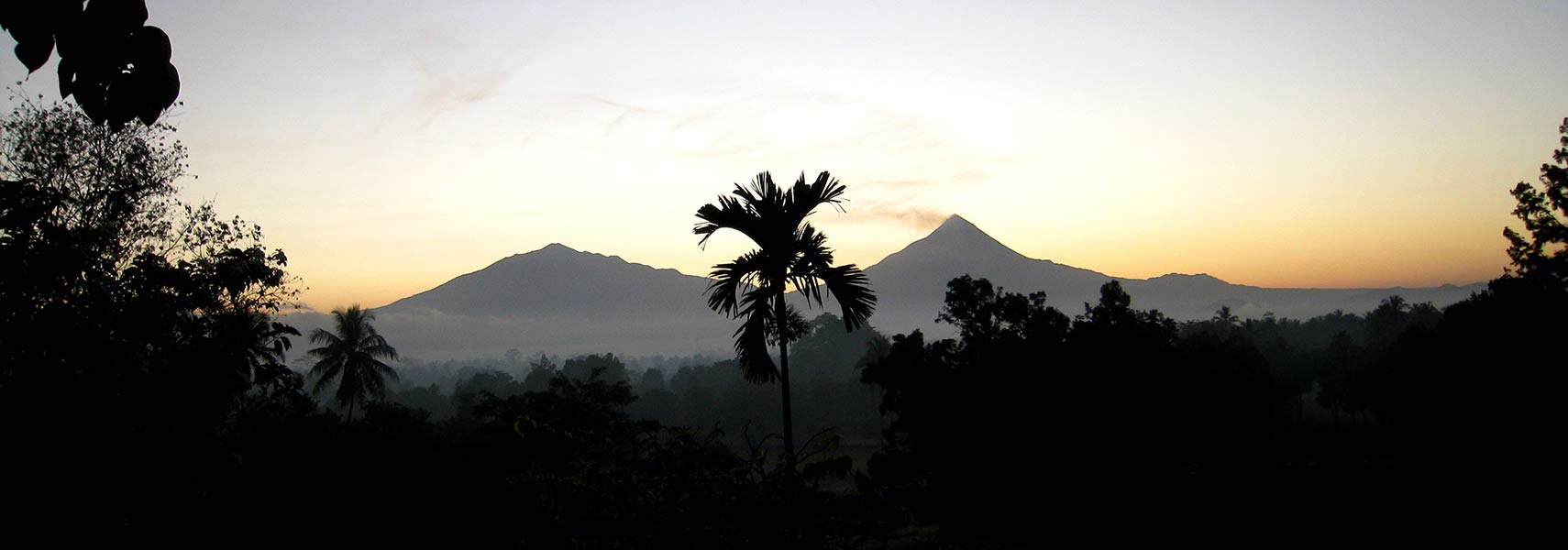 View of Mount Merapi from Borobudur, Java, Indonesia
