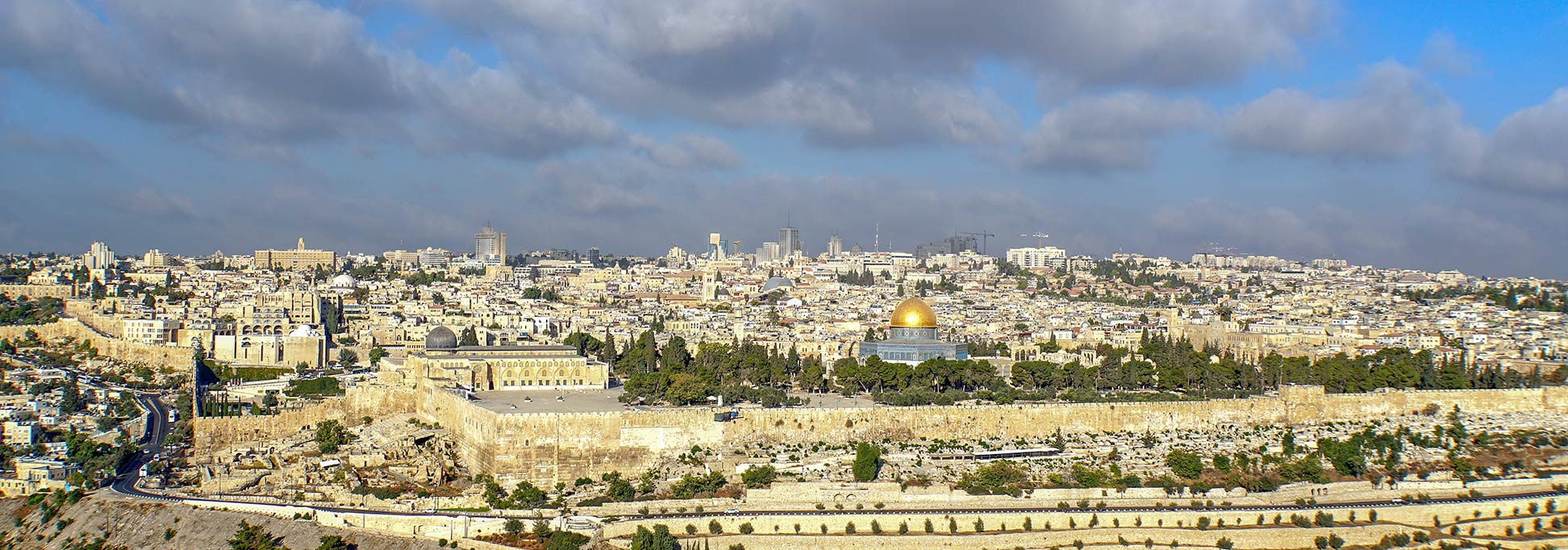 Panorama of the Old City of Jerusalem with the Dome of the Rock, Israel