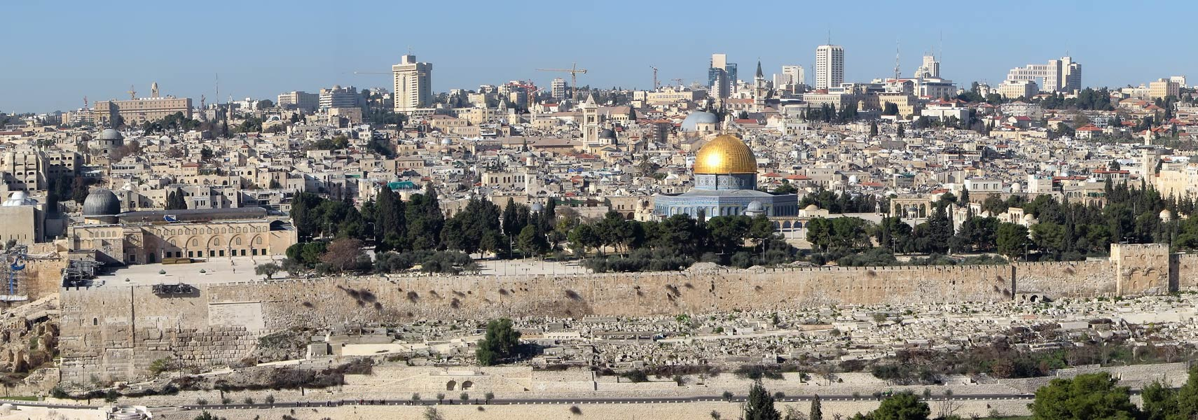 Panorama view of Jerusalem with the Temple Mount and the Dome of the Rock.