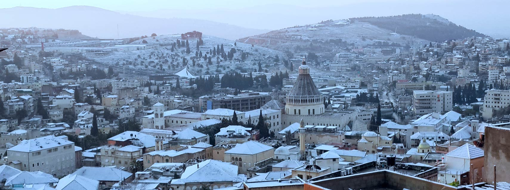 Snow in the city of Nazareth in Israel