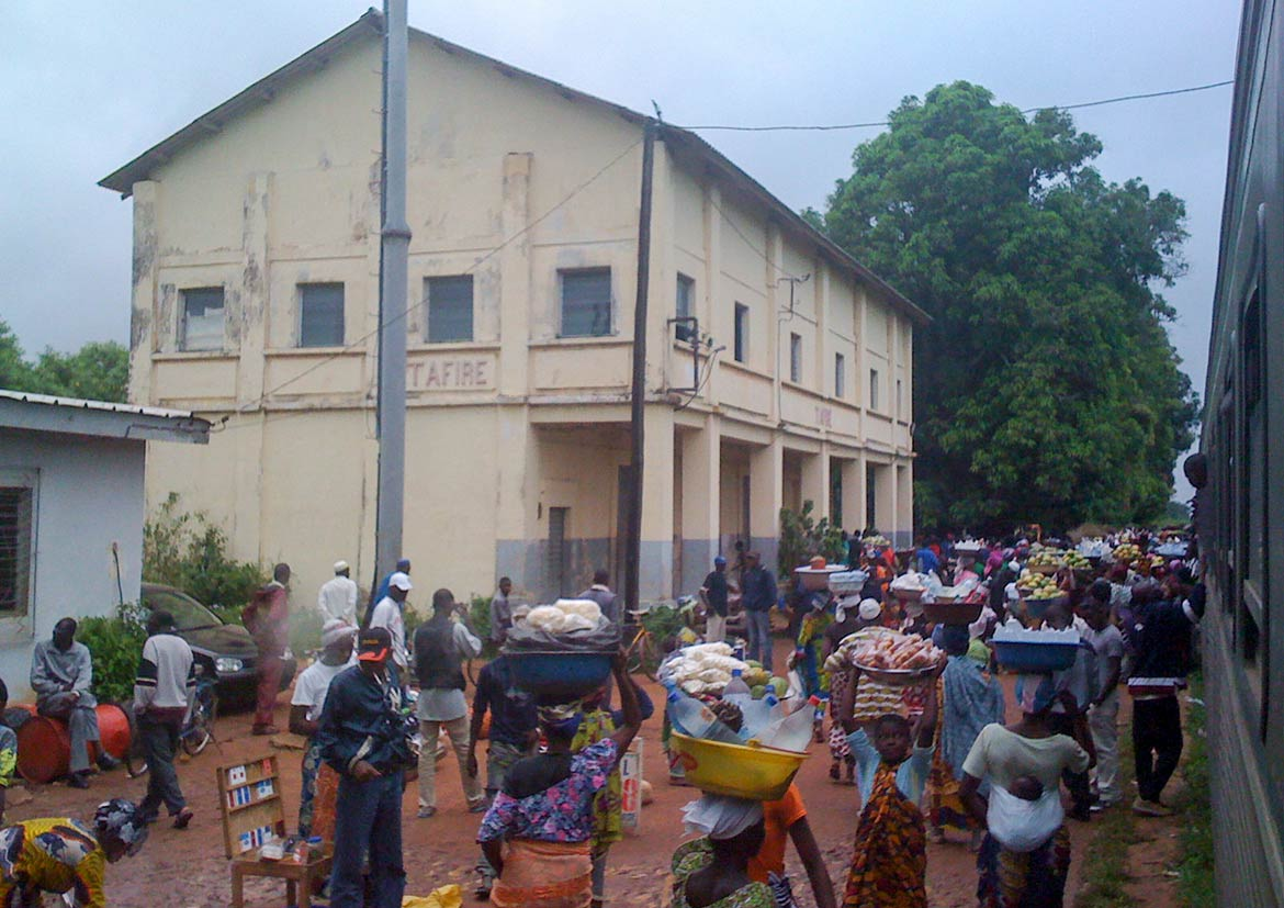Train station in Tafiré, northern Ivory Coast