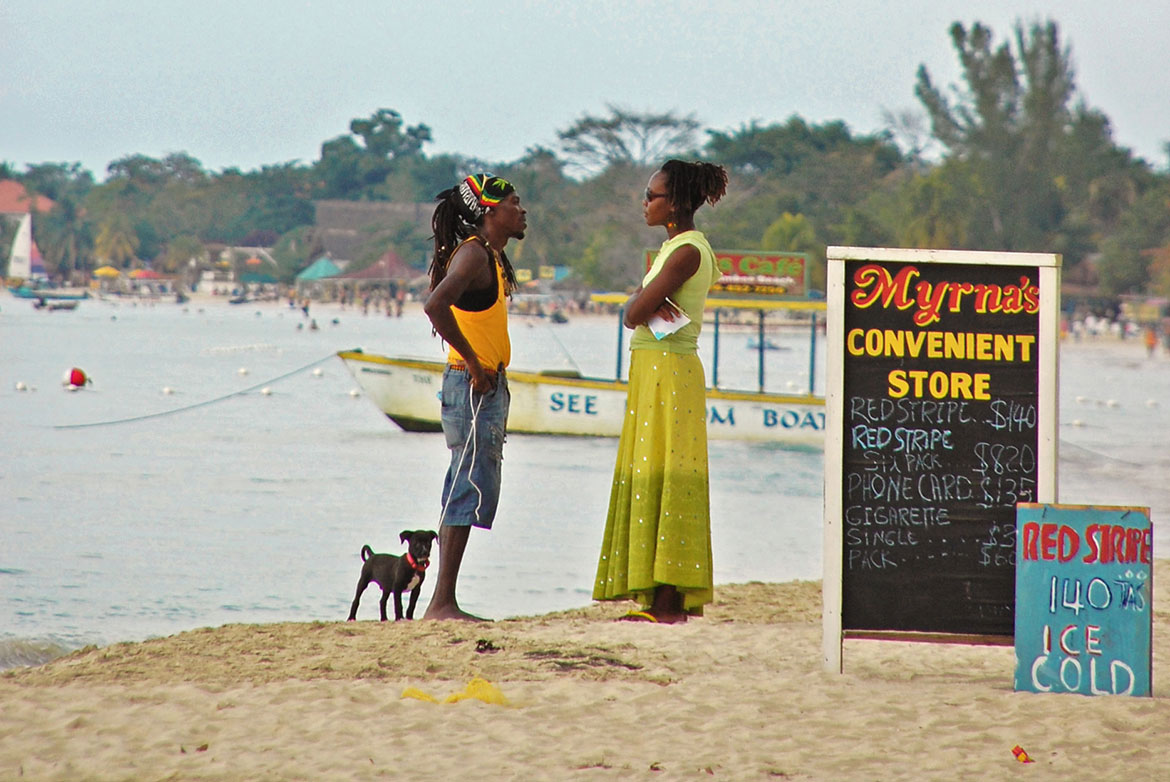 Beach talk, Negril, Jamaica