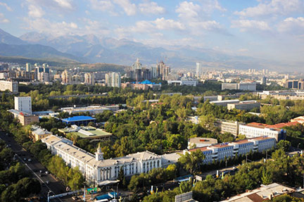 Aerial view of Almaty, Kazakhstan