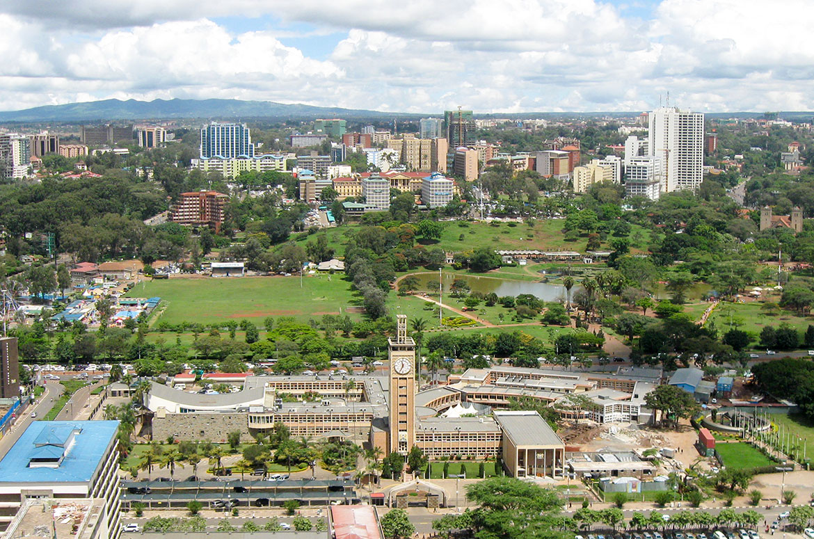 Nairobi and the Parliament of Kenya, seen from the Kenyatta International Conference Centre tower
