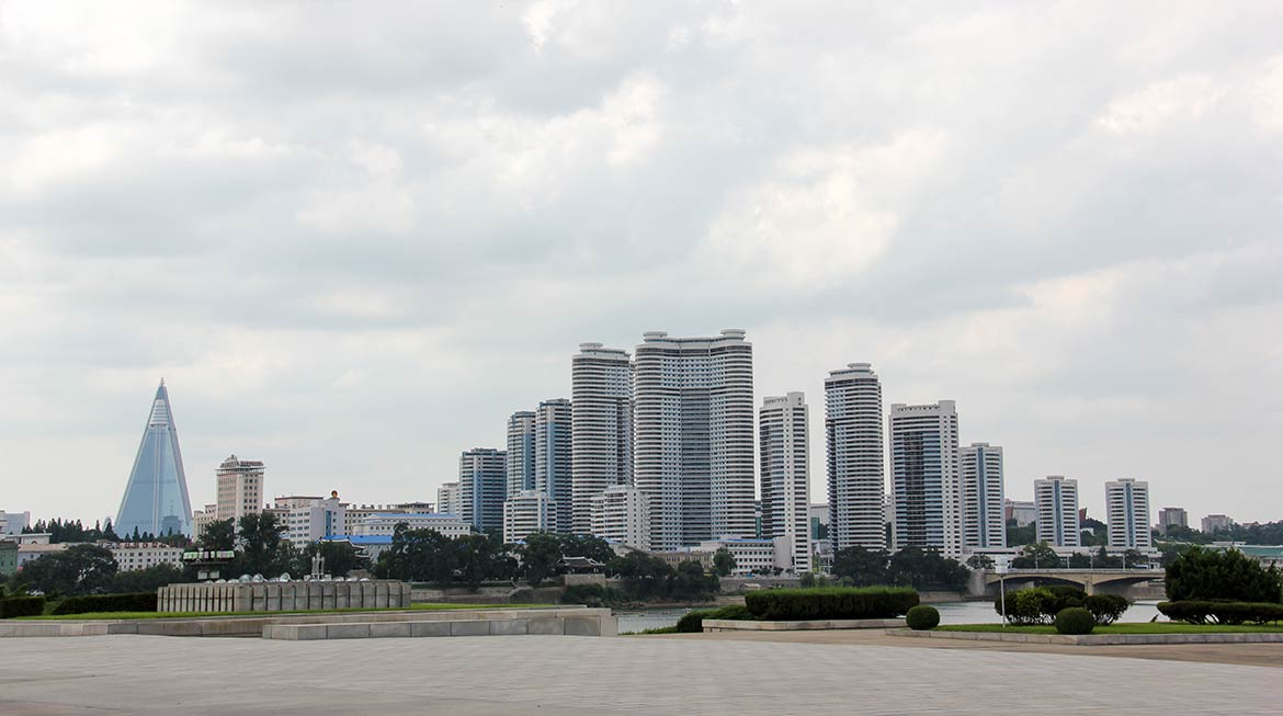 Pyongyang skyline and Ryugyong Hotel