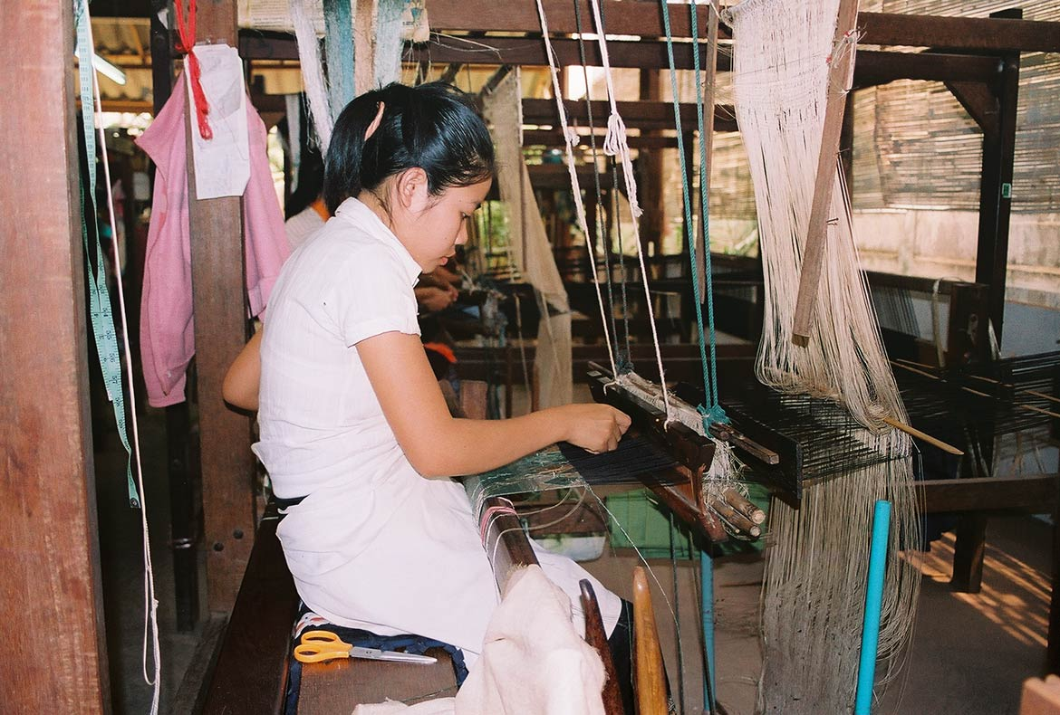 Lao Silk weaving with a hand loom, Vientiane