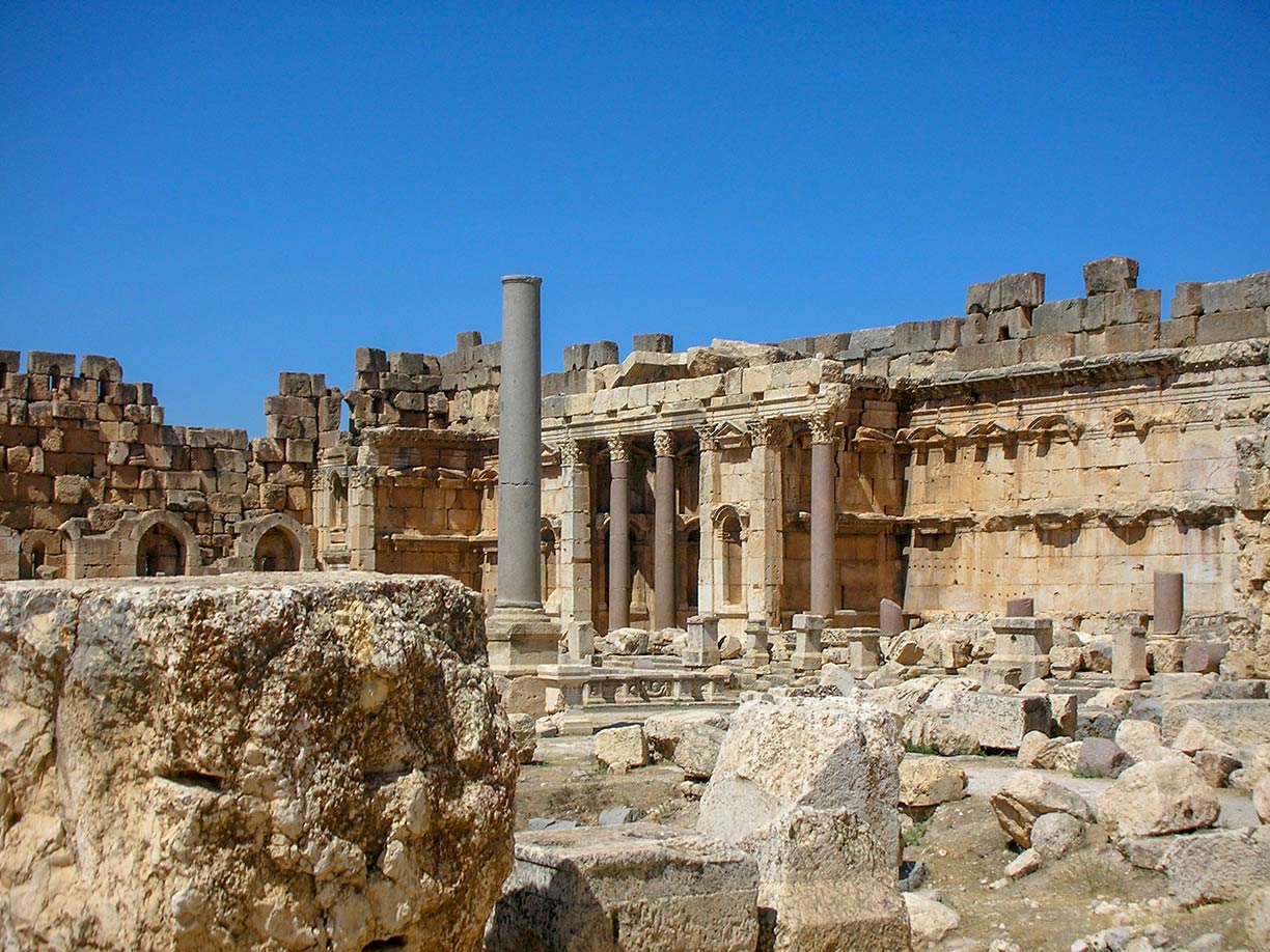 Ruins of a complex of temples at the Phoenician city of Baalbek, Lebanon