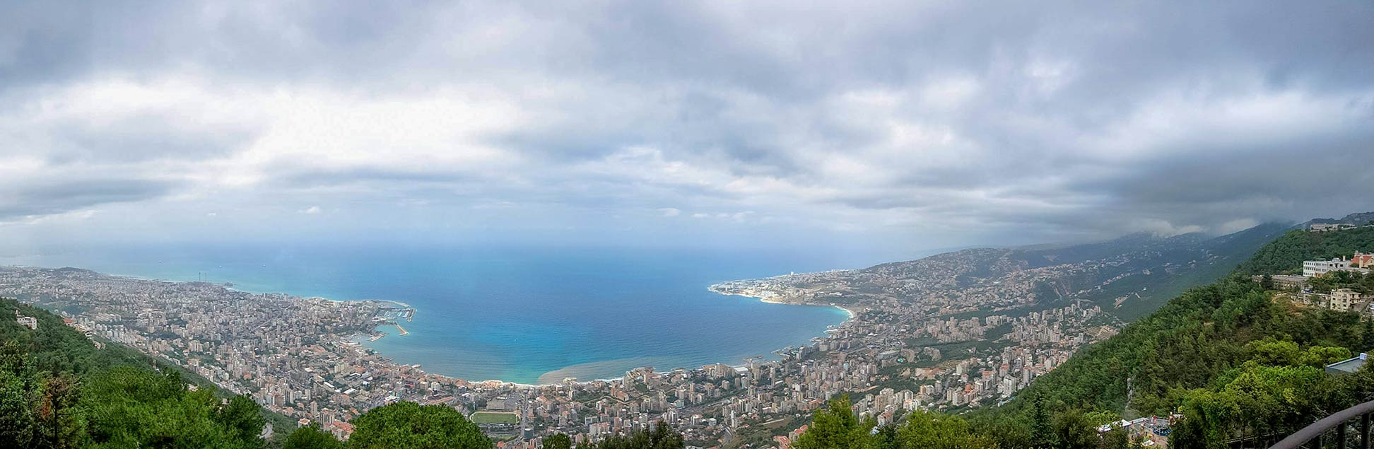 Panorama view of Jounieh and Jounieh Bay from Harissa, Mount Lebanon