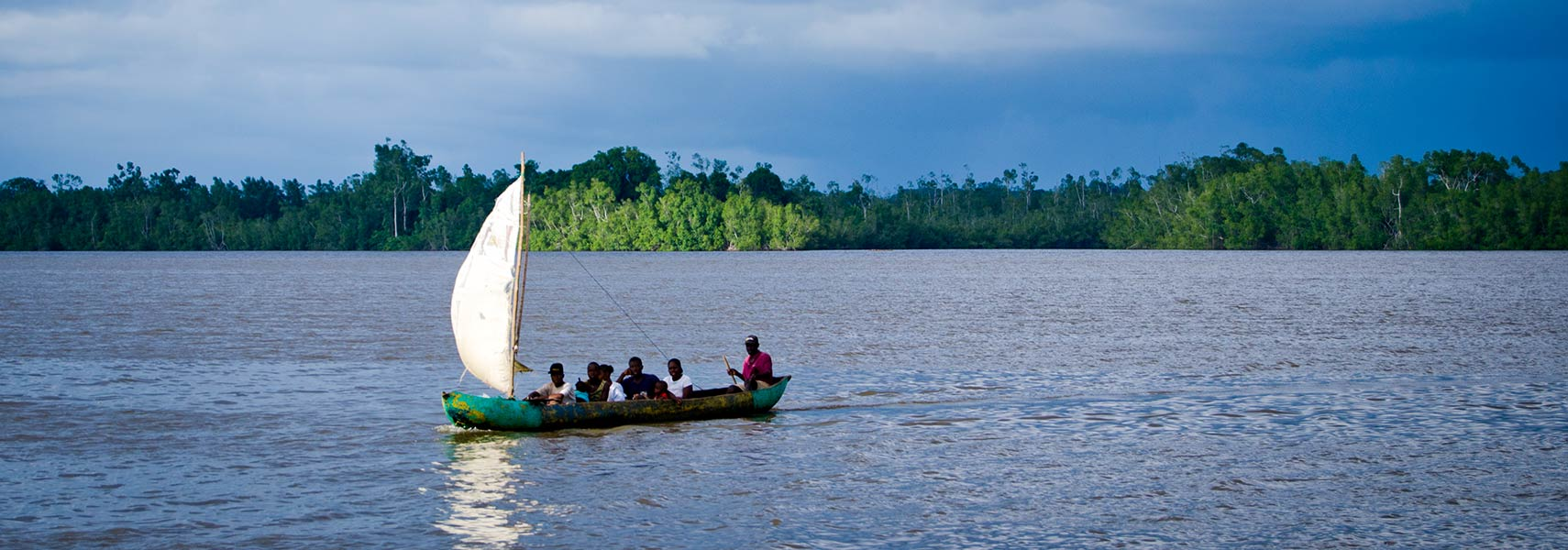 Boat on Cess river in Rivercess County of Liberia