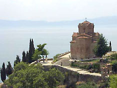 St John Caneo church above Ohrid Lake, Macedonia