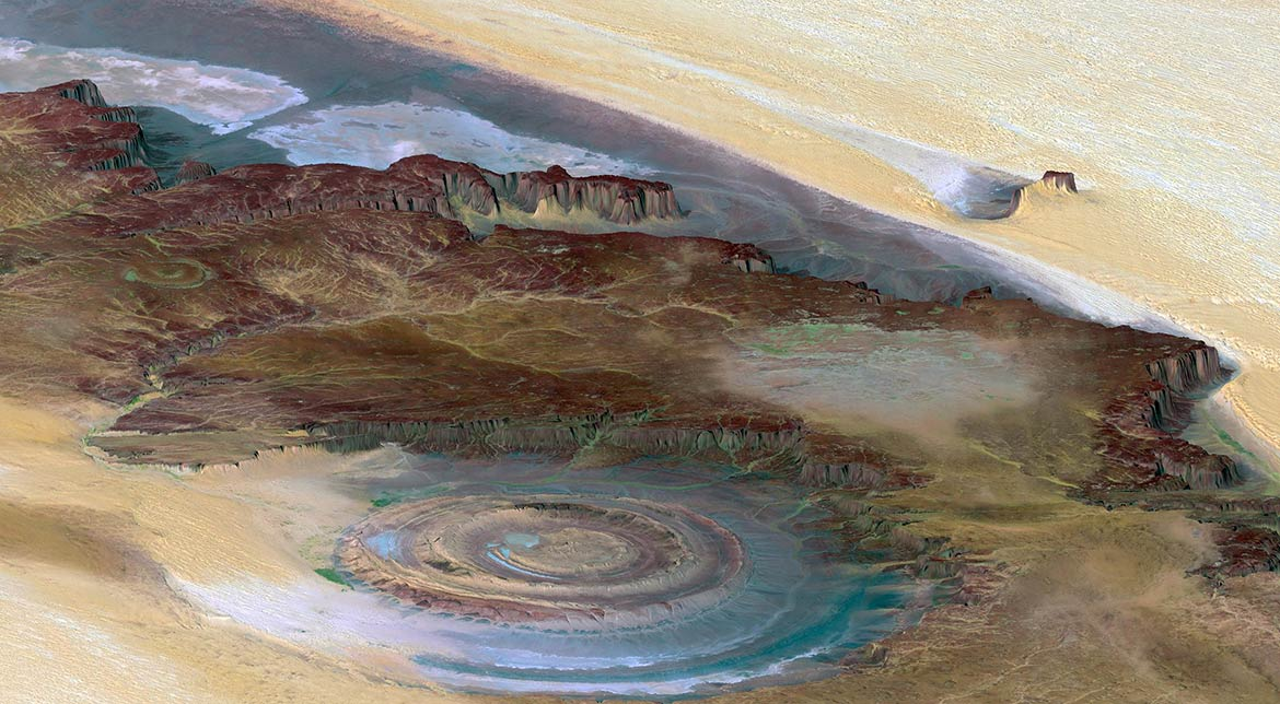 View of the Richat Structure in Mauritania.