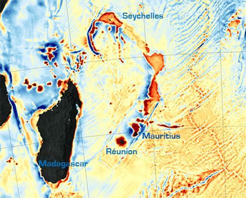 Ocean floor map showing the Mascarene Plateau