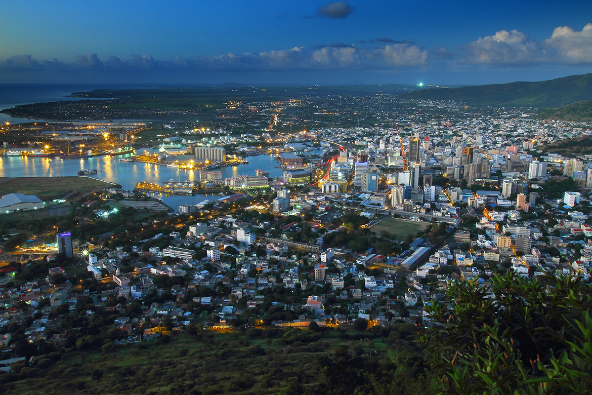 Evening view of Port Louis, capital city of Mauritius