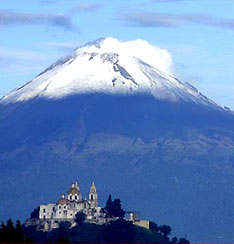 Pueblo Cholula and Popocatepetl, Mexico