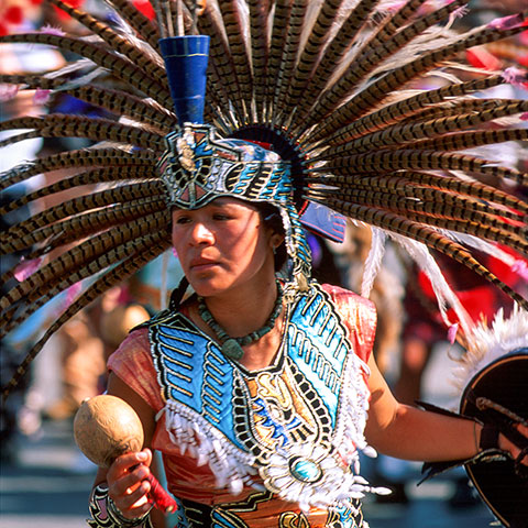 Dancer in prehispanic period costume.