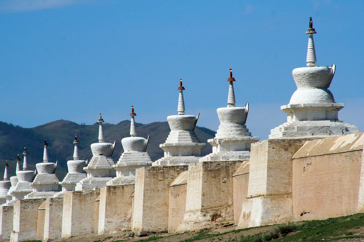 Stupas at Erdene Zuu monastery in Karakorum