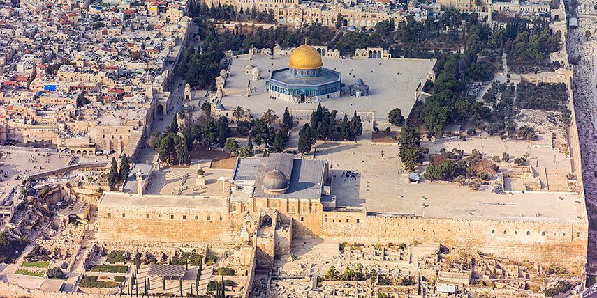 Aerial view of the Temple Mount in Jerusalem, Israel