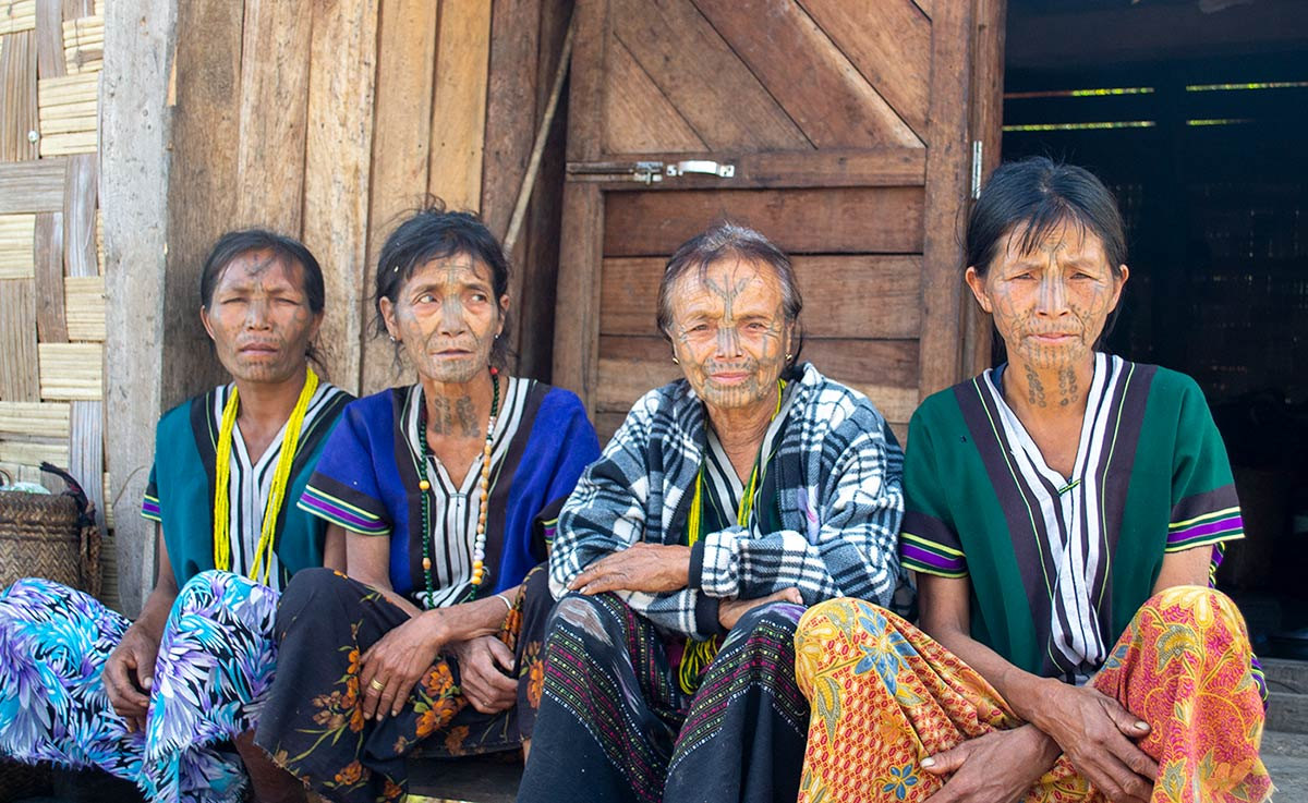 M'uun women with face tattoos in the Chin Hills area of Chin state
