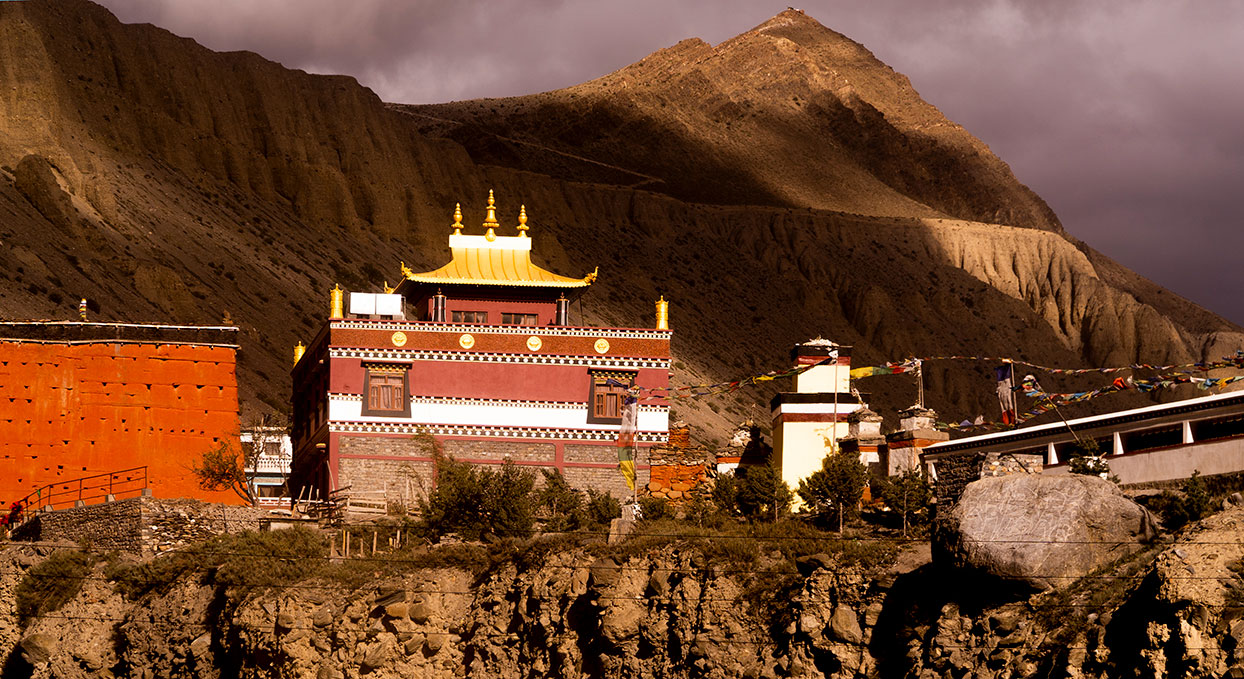 Kag chode, a Buddhist temple in the village of Kagbeni in Mustang, the former Kingdom of Lo, in Nepal.