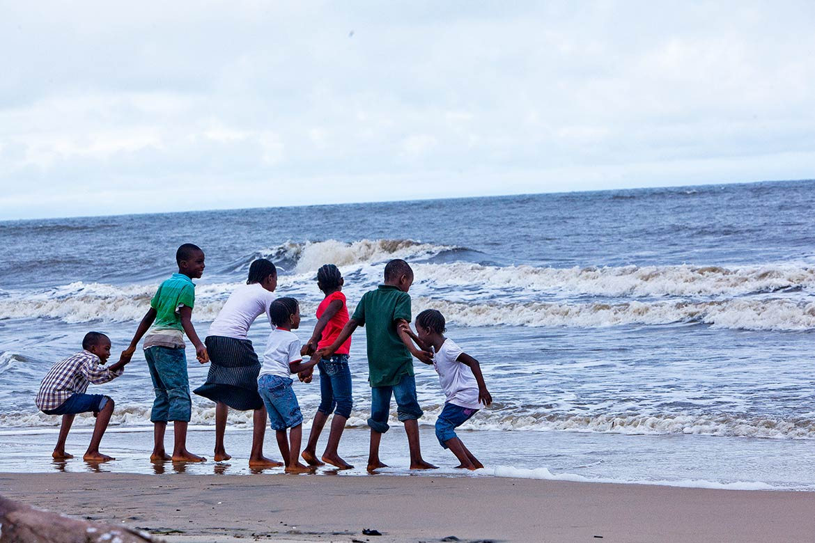 Nigerian kids at the beach