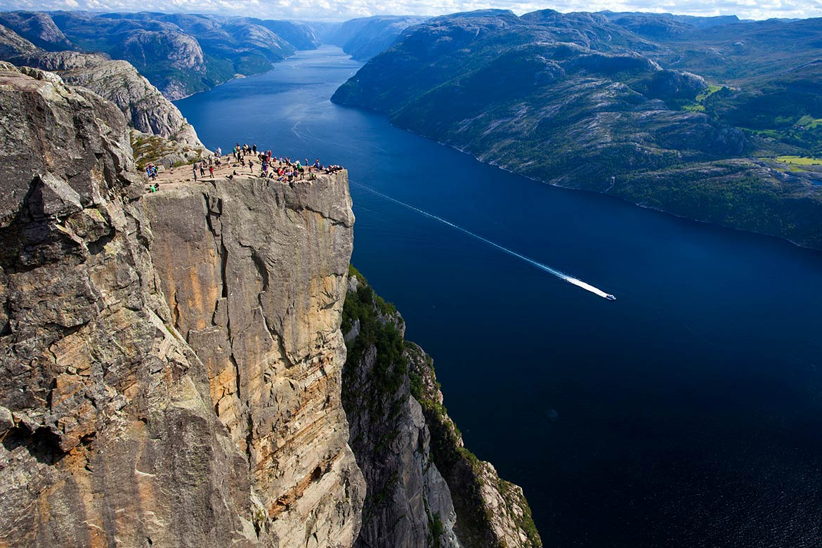 Preikestolen, Pulpit Rock at Lysefjord, Norway.
