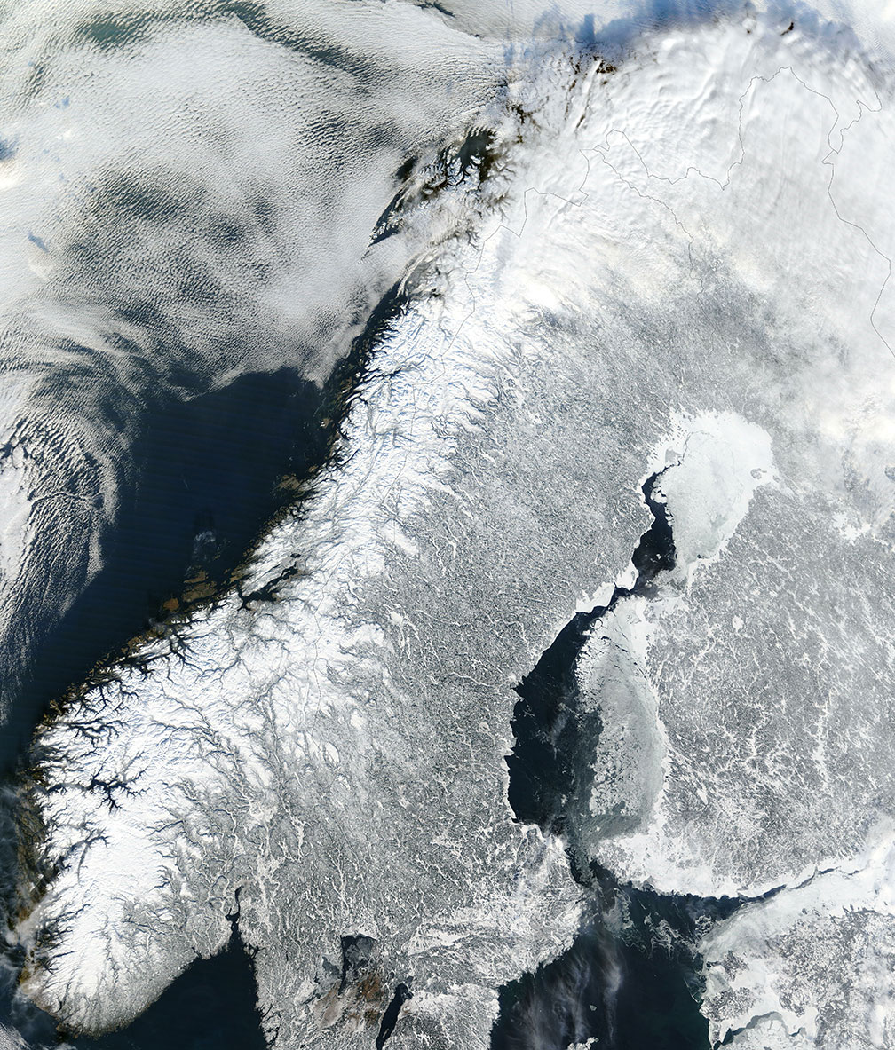 Satellite image of continental Norway and most of the Scandinavian Peninsula in winter