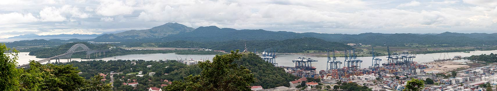 Panorama of Pacific entrance of the Panama Canal