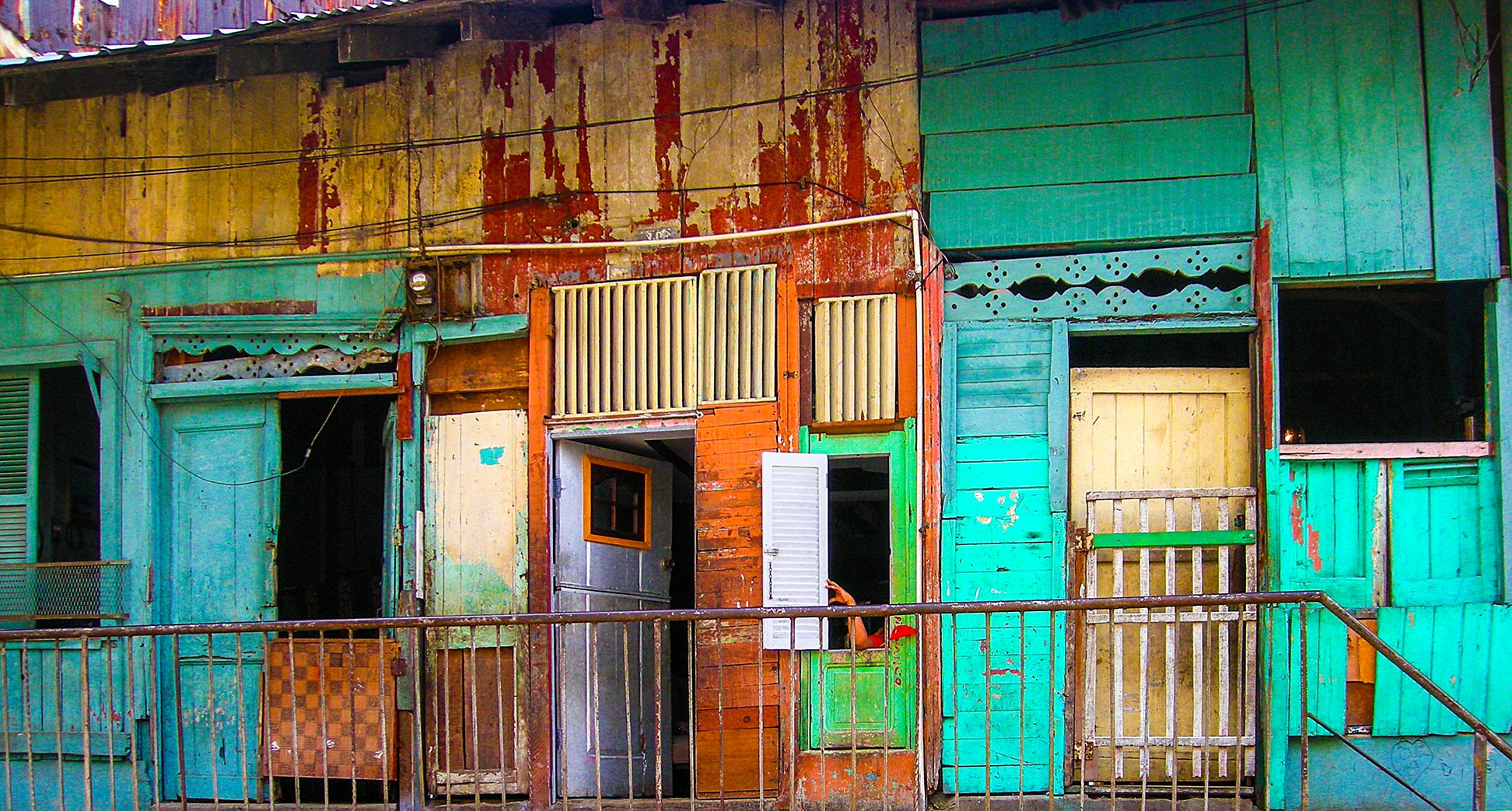 Substandard housing in an alleyway in Panama City, Panama.