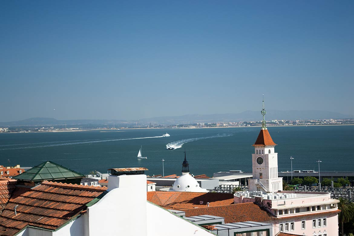 View over Lisbon with Tagus river