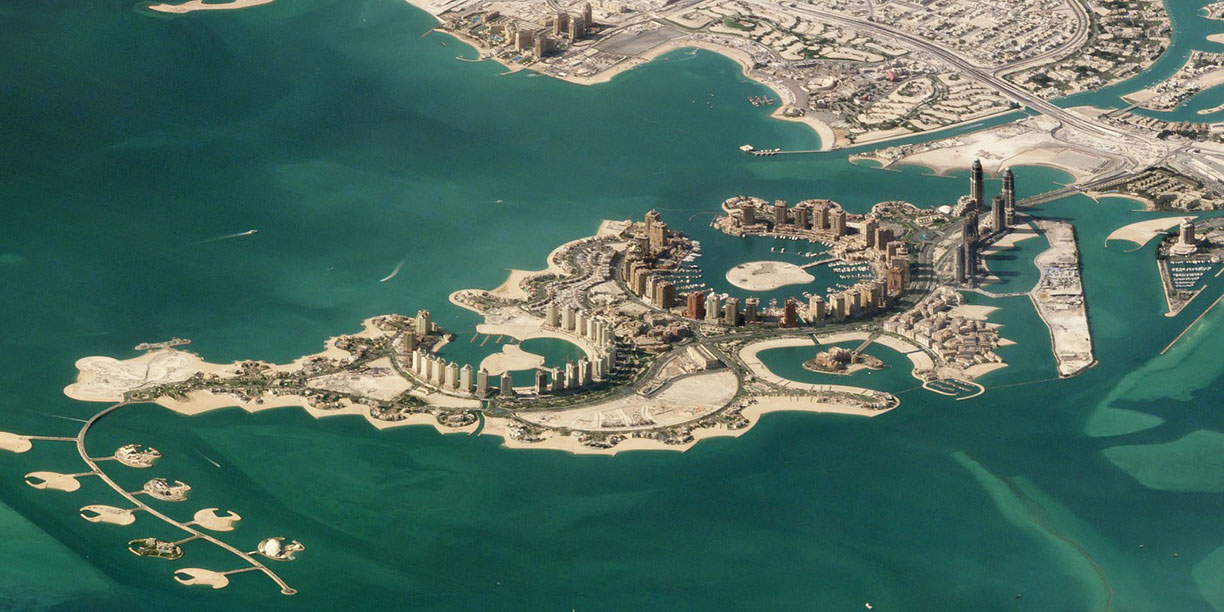 The Pearl-Qatar, the artificial island off the coast of Doha