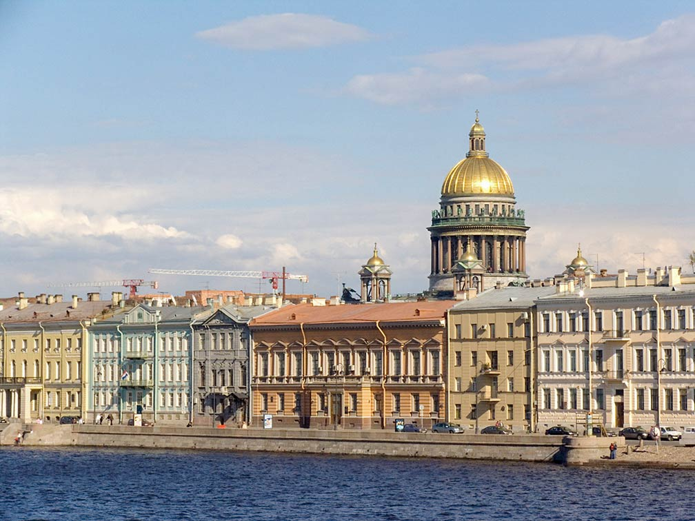 English Embankment and Saint Isaac's Cathedral in Saint Petersburg