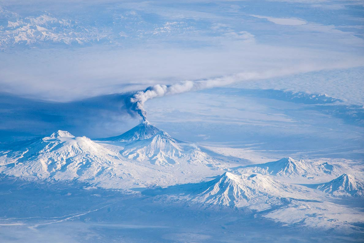 Eruption of Klyuchevskaya Sopka, a stratovolcano on the Kamchatka Peninsula in the Russian Far East.