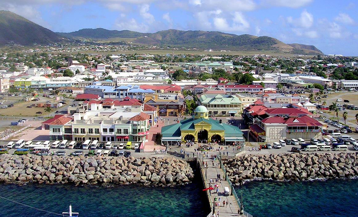 View of Basseterre, St. Kitts from the top deck of a cruise ship