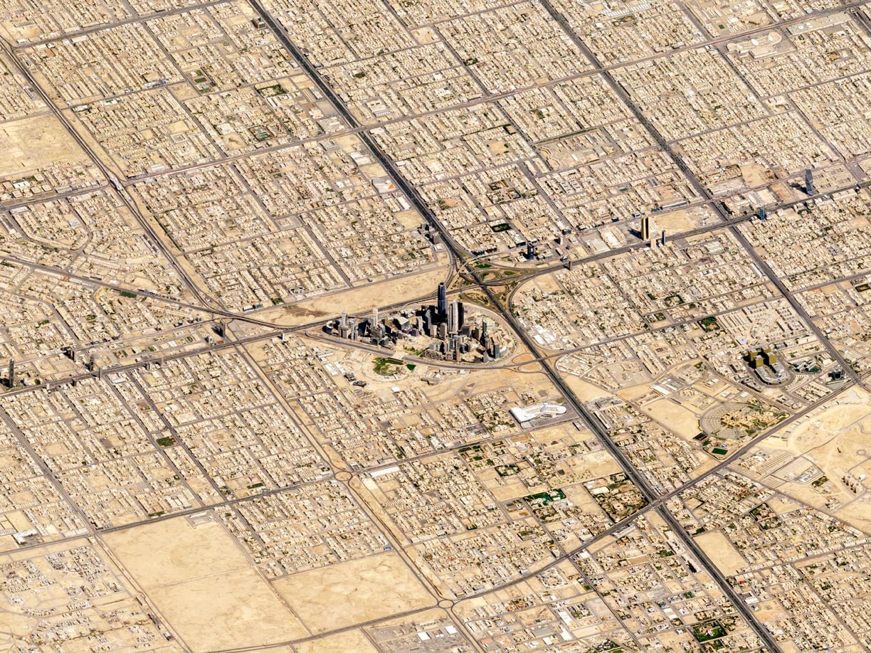 Satellite image of Riyadh with King Abdullah Financial District, Saudi Arabia