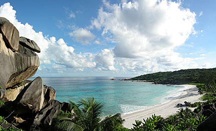 Beach of Grand Anse on the island of La Digue