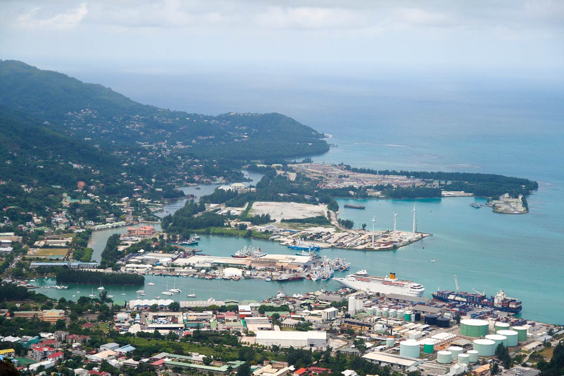 Port of Victoria, Seychelles capital on Mahe island.