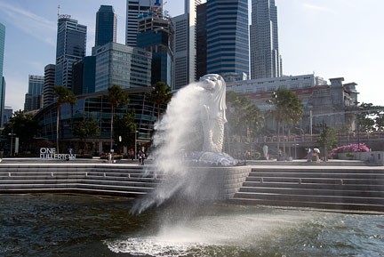 the Merlion, in front of Singapore central business district